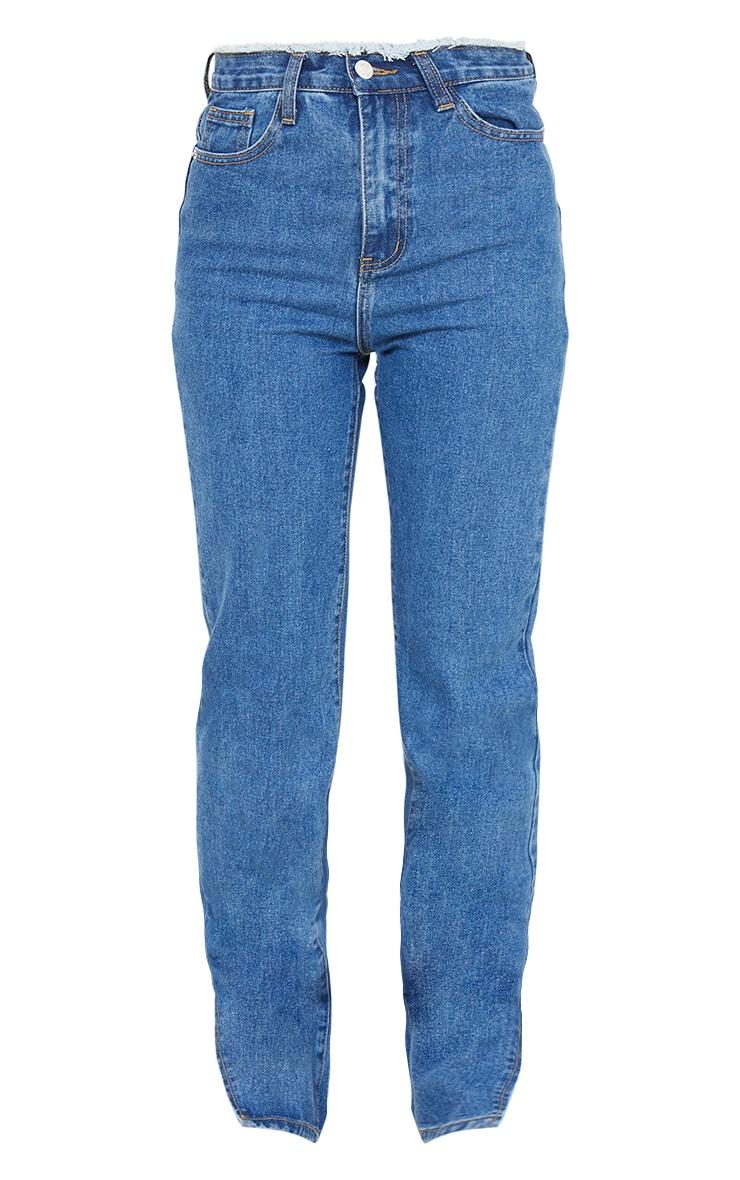 Mid Blue Wash Ripped Waistband Split Hem Jeans 5