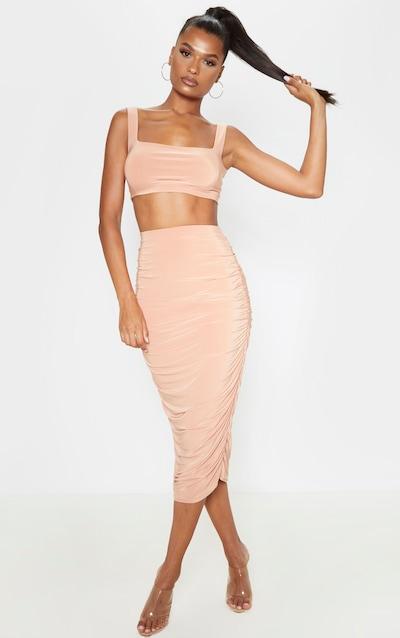 Chestnut Slinky Second Skin Ruched Midi Skirt