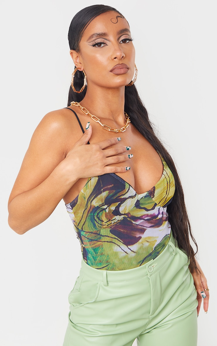 Lime Mesh Abstract Swirl Mesh Cup Detail Bodysuit 1