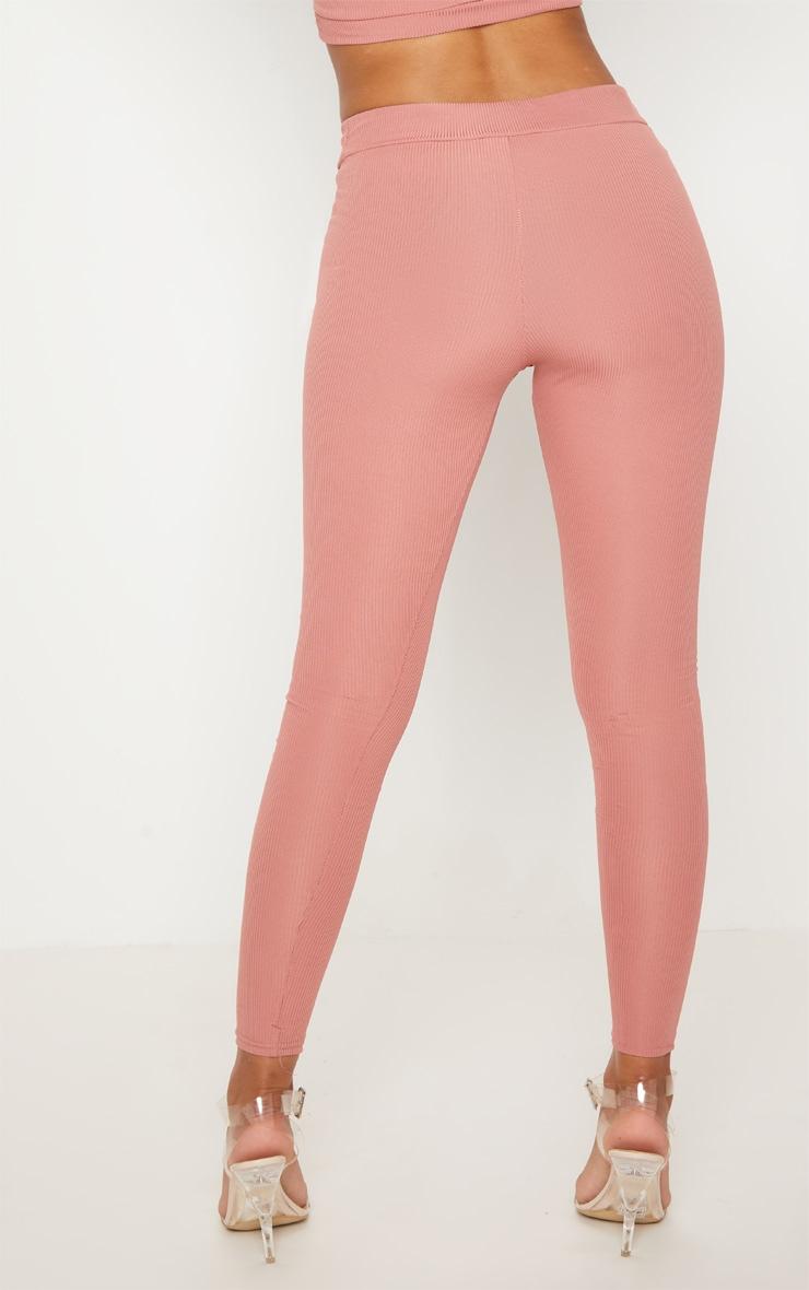 Petite Dusky Pink Ribbed Leggings 4