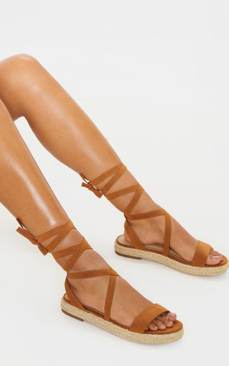Tan Lace Up Espadrille Flatform Sandal  1