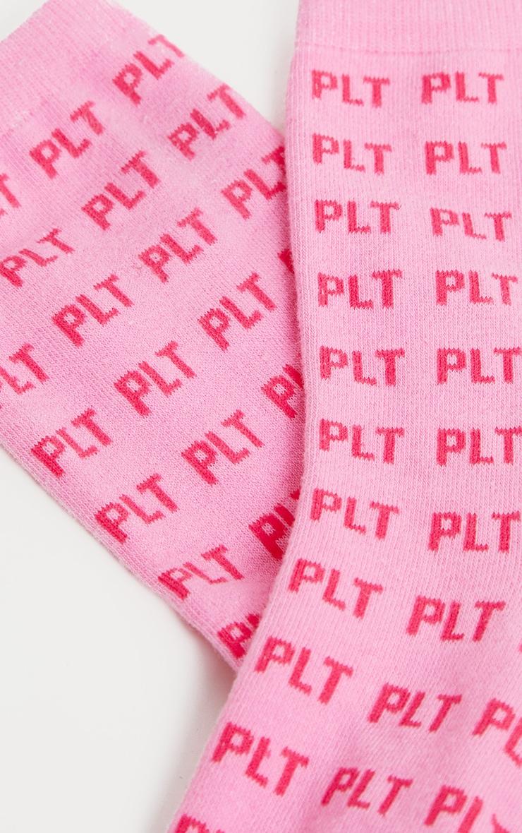 PRETTYLITTLETHING Logo Pink Ankle Socks 4