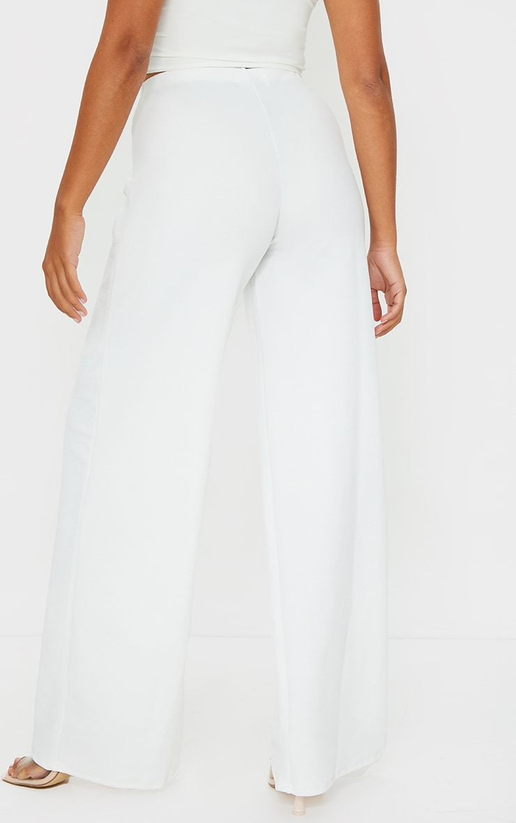 Petite White Wide Leg Trousers 3