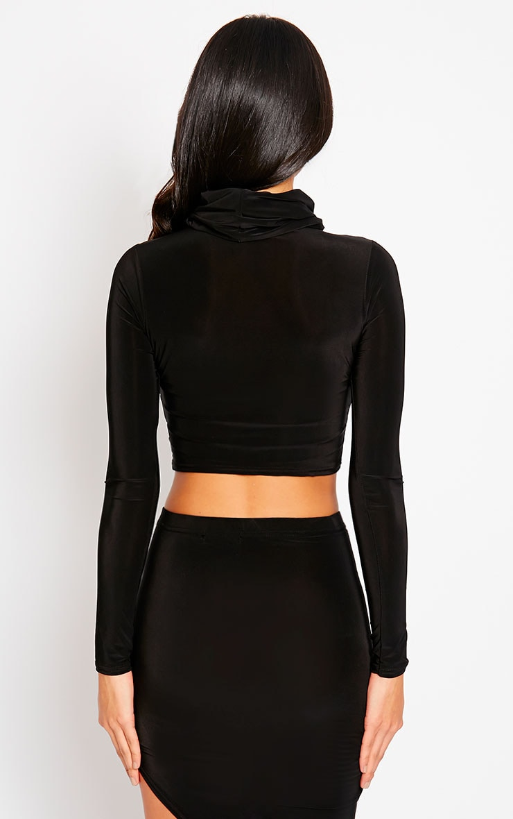 Alba Black Roll Neck Crop Top 2