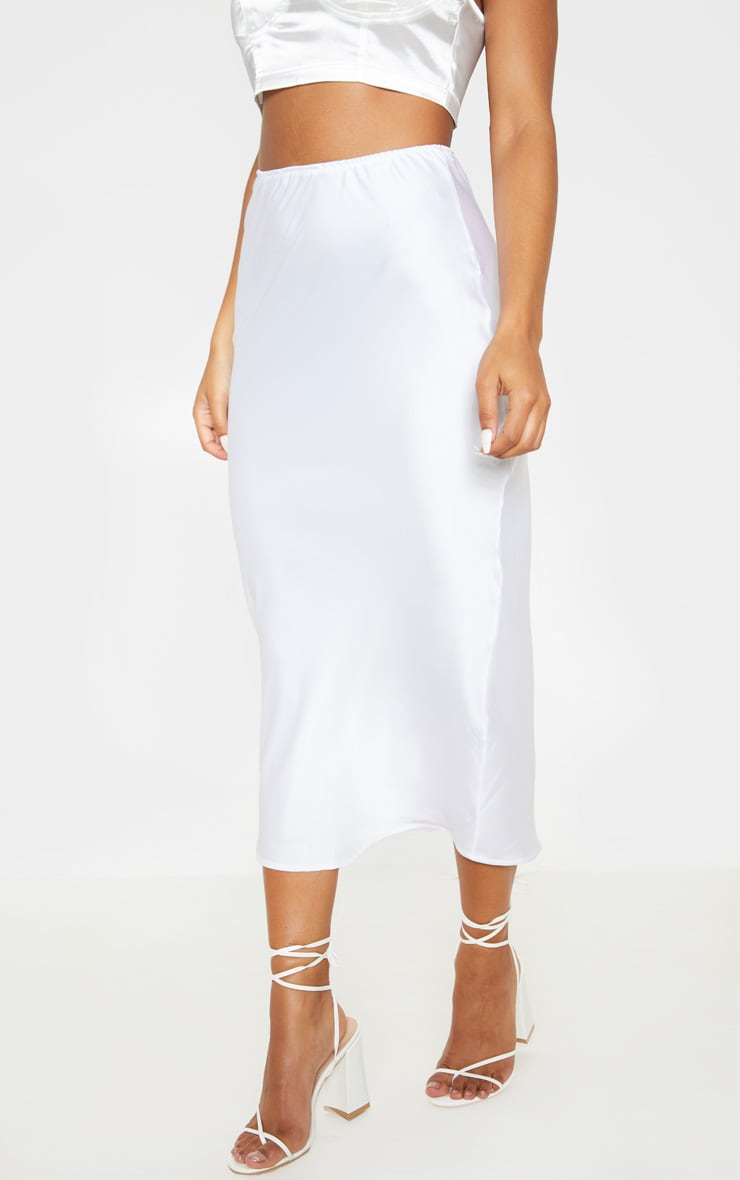 White Satin Midi Skirt 2