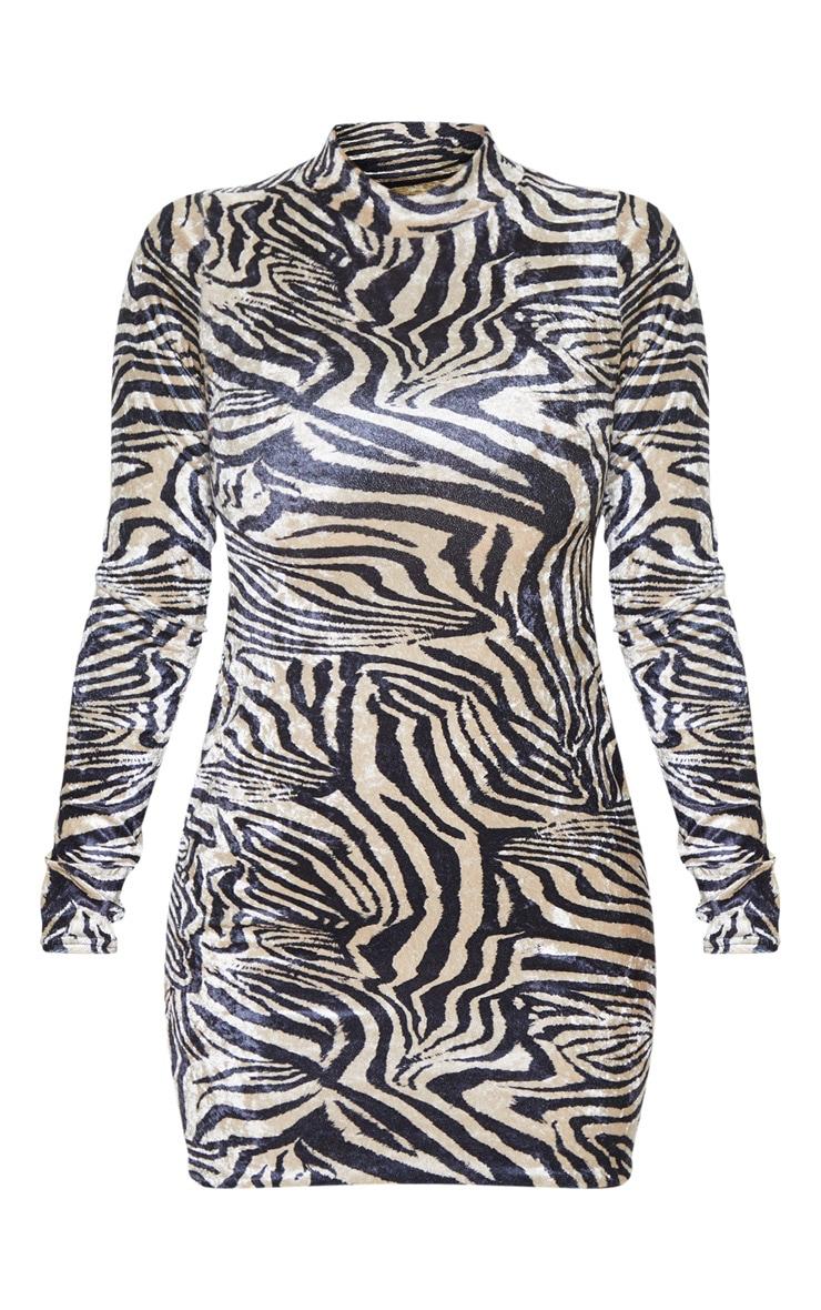 Robe moulante en velours froncée à manches longues champagne à tigrures 3