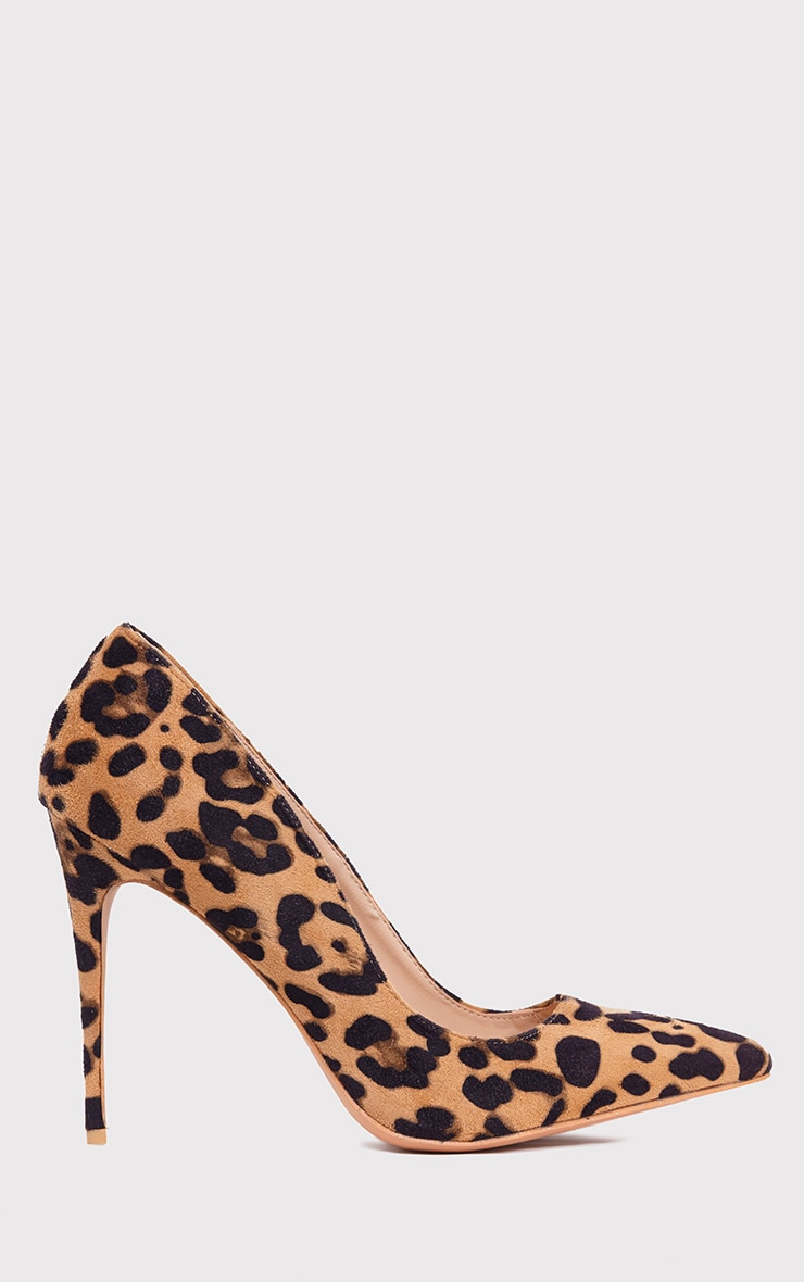 Chenille Camel Leopard Print Pointed Heels 2
