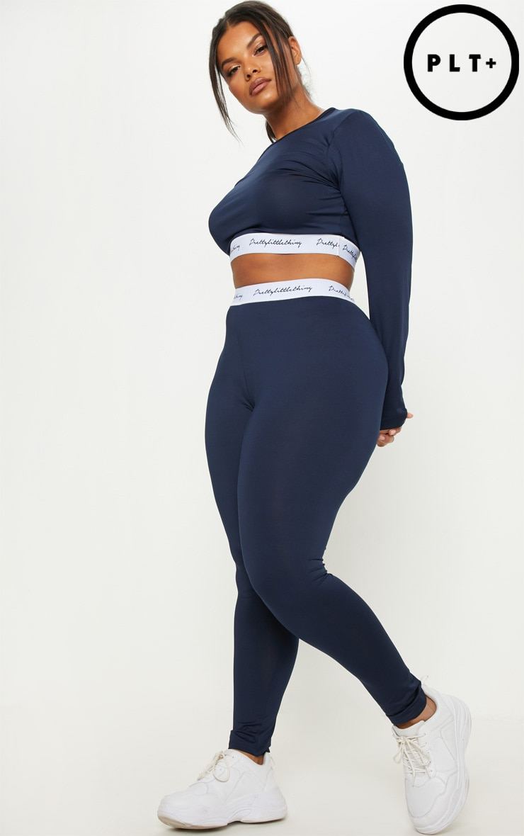 PRETTYLITTLETHING Plus Navy Elasticated Band Leggings