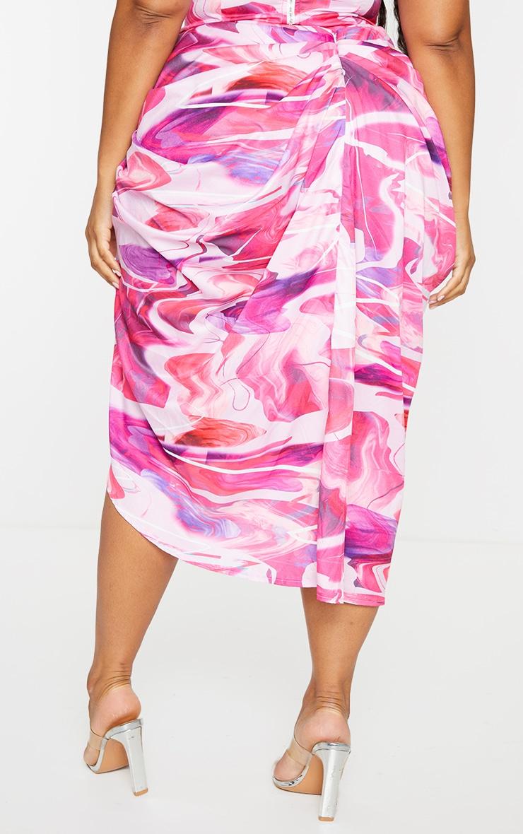 PLT Plus - Jupe mi-longue rose à côté froncé 3