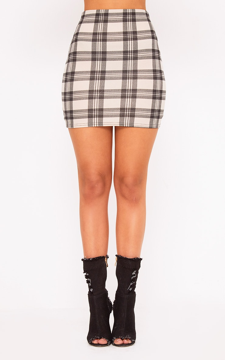 Stone Jersey Check Mini Skirt 2