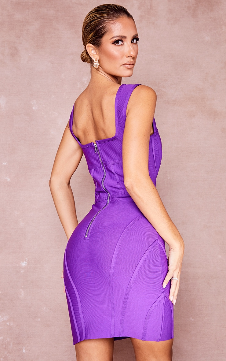 Purple Bandage Bust Detail Sleeveless Corset Bodycon Dress 2