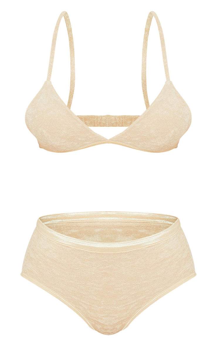 Stone Towelling Triangle Strappy Bra Lingerie Set 5