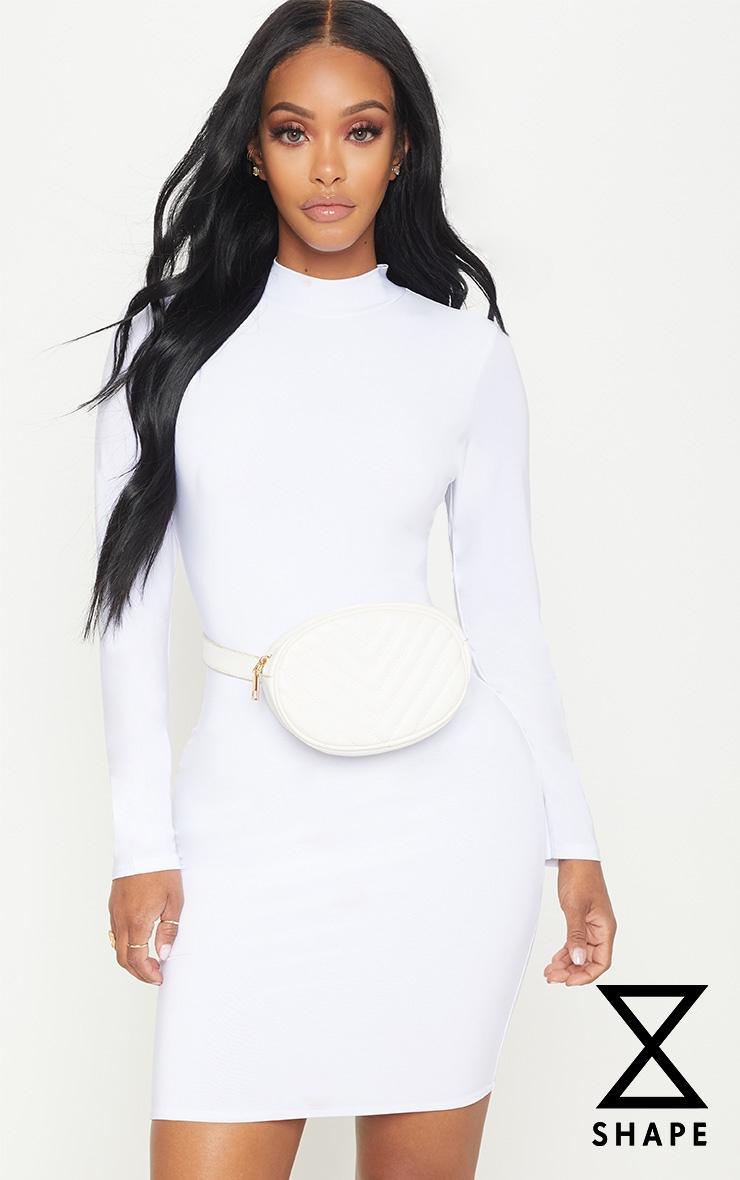 Shape White Slinky High Neck Bodycon Dress