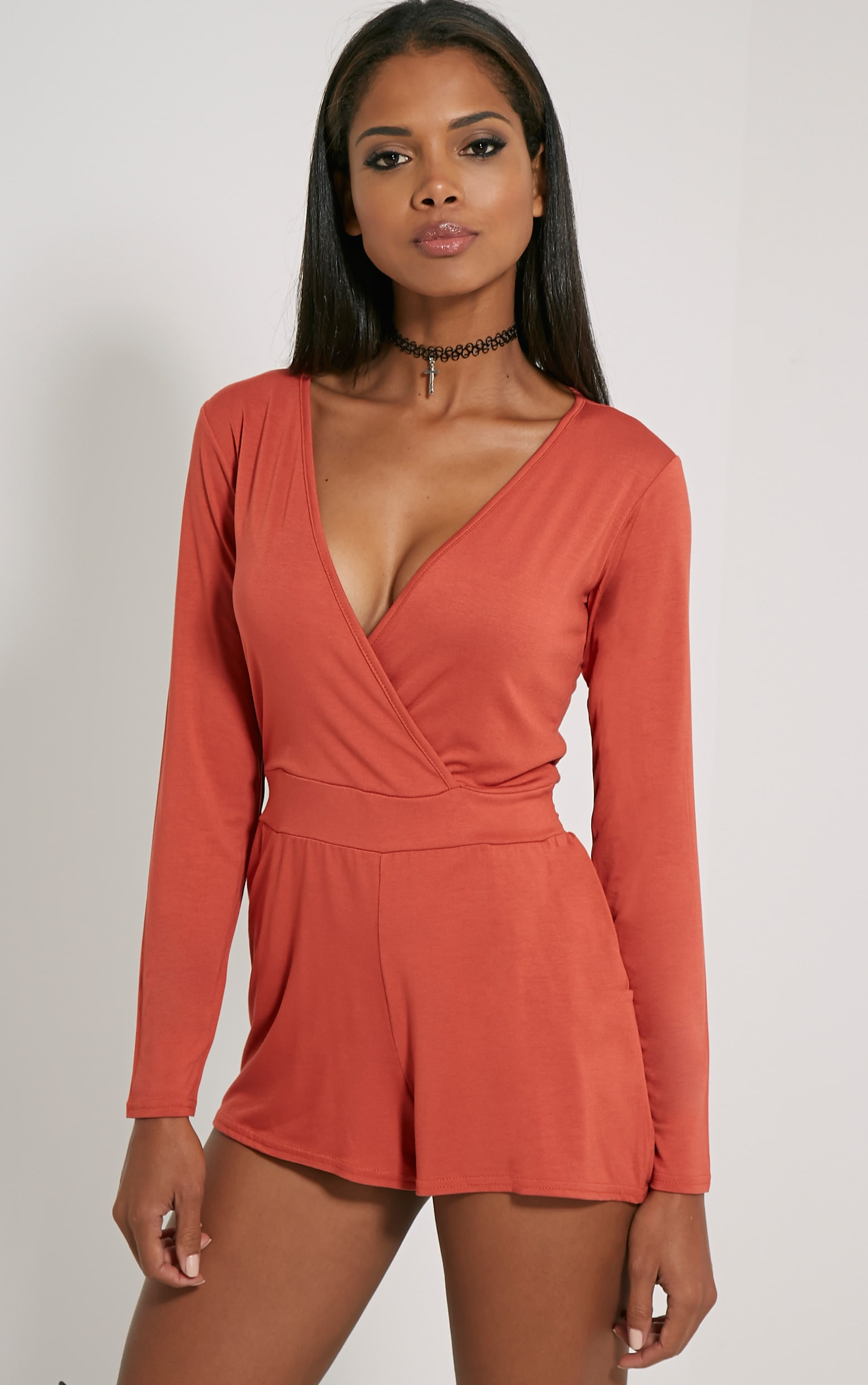 Jessey Rust Jersey Wrap Playsuit 5