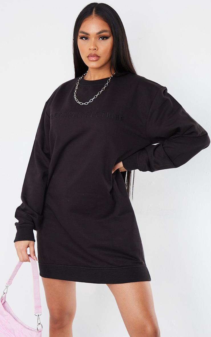 PRETTYLITTLETHING Black Slogan Sweat Sweater Dress 1