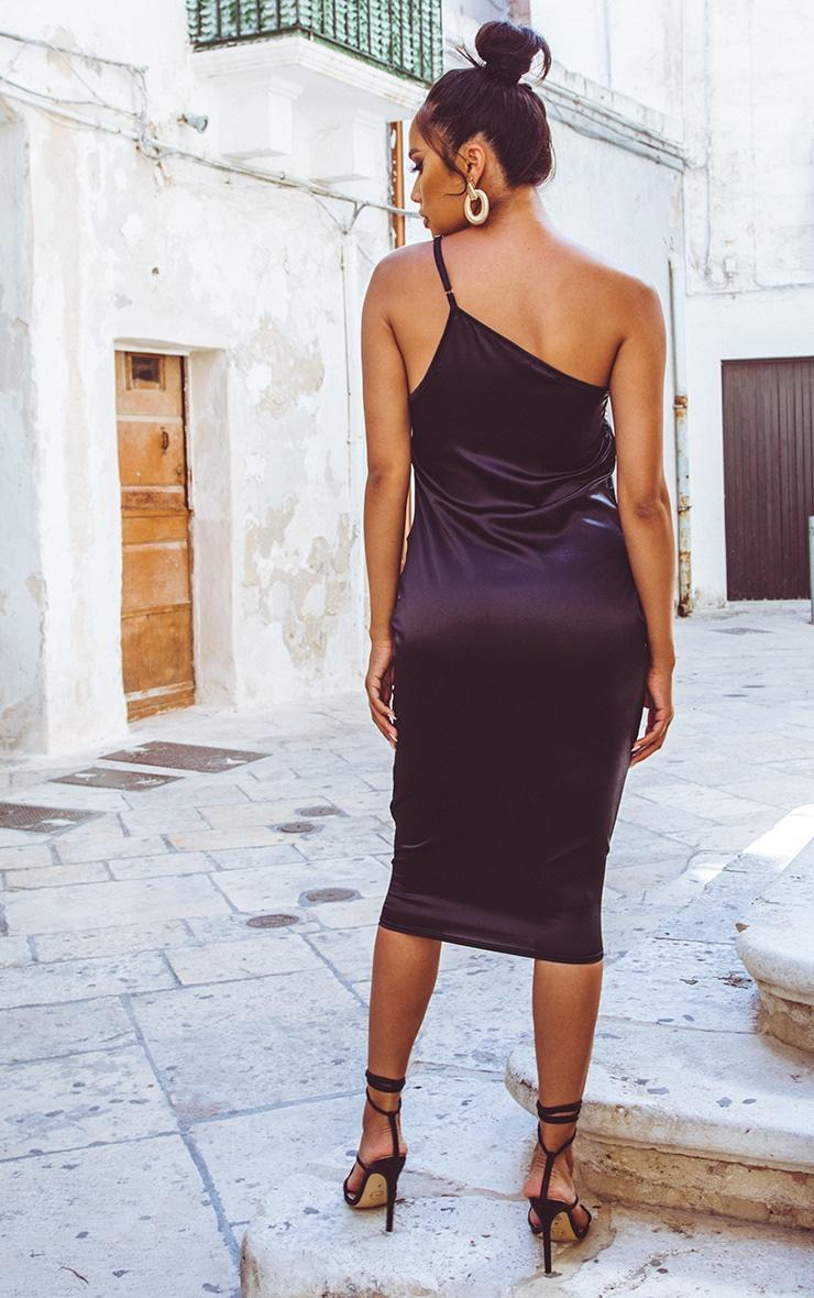 Robe mi-longue asymétrique satinée noire 2