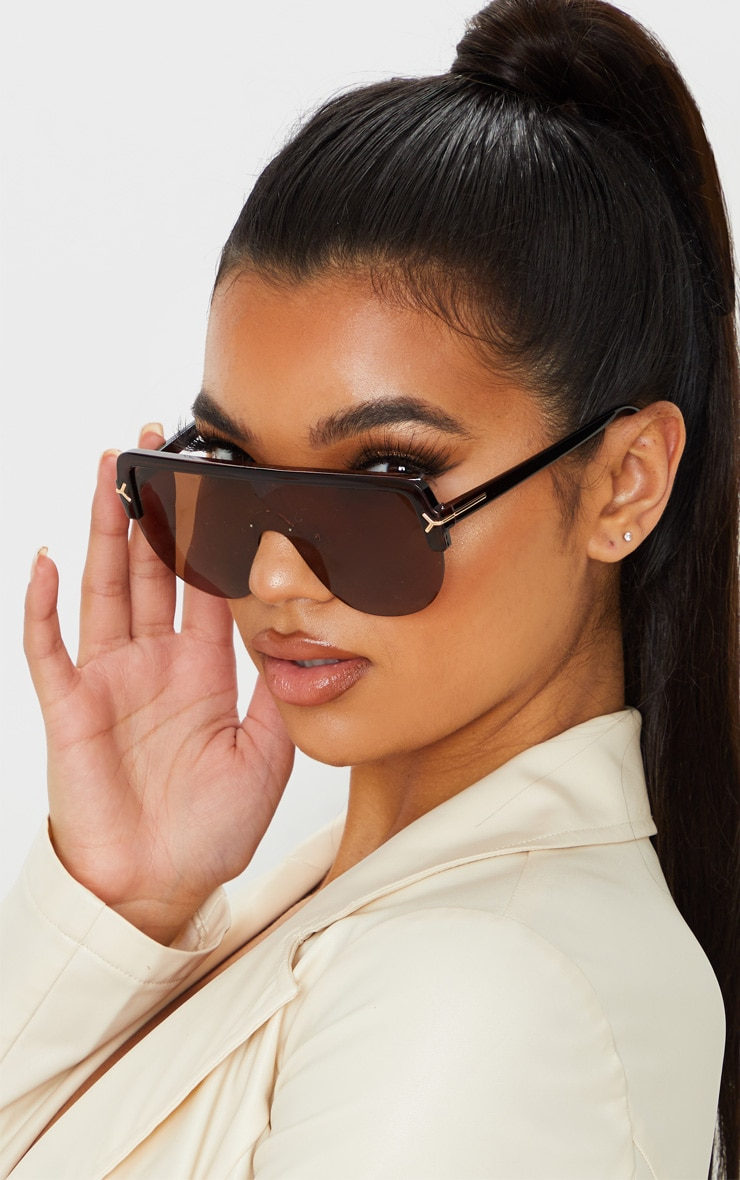 Brown Tinted Lens Tortoiseshell Frame Oversized Sunglasses 1