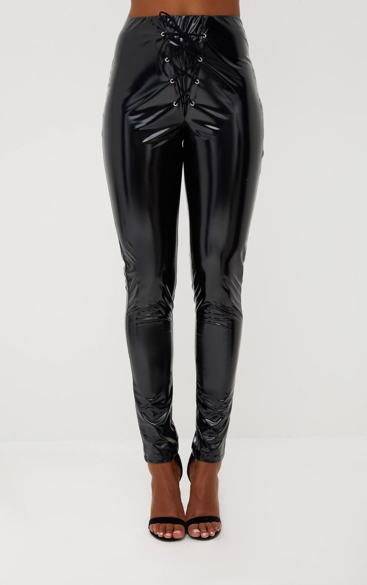 Black Vinyl Skinny Lace Up Trousers 2