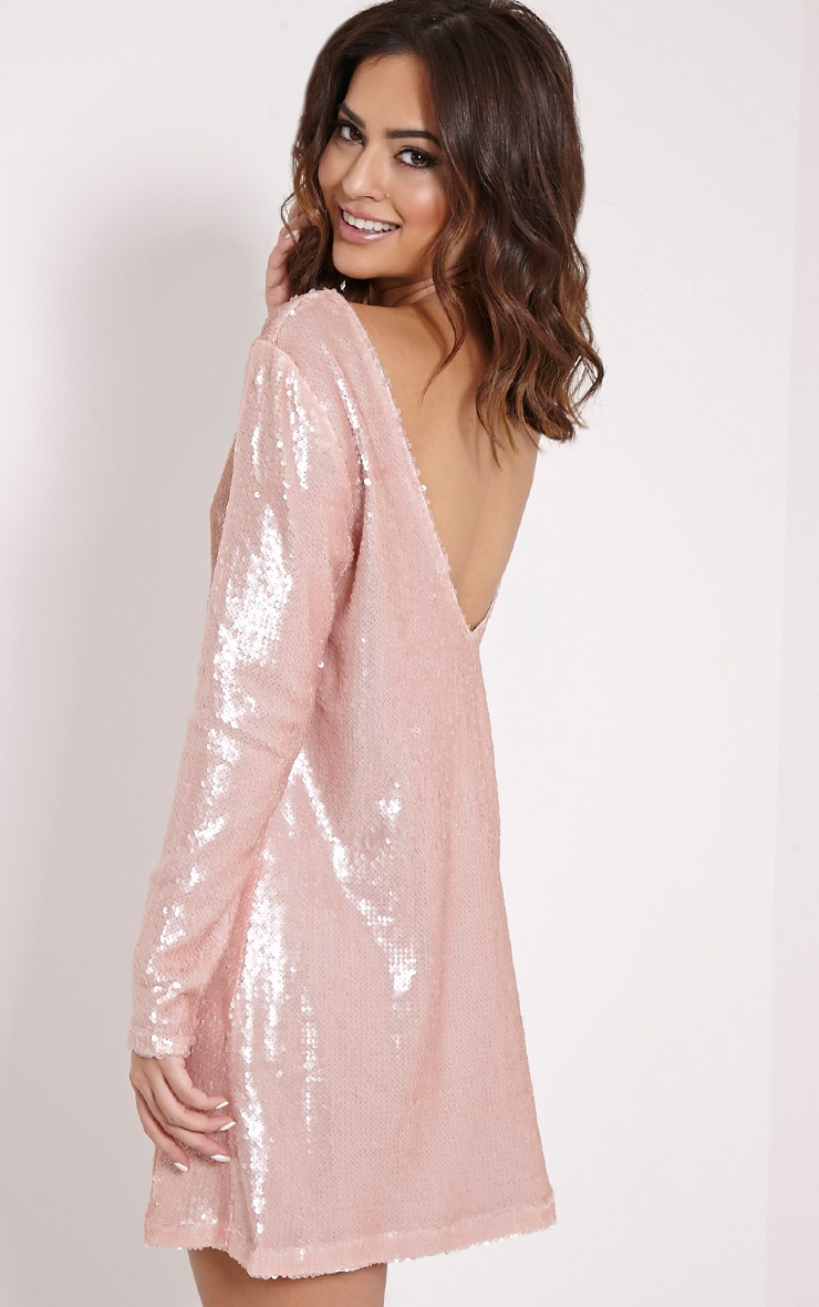 Clarita Pink Oversized Sequin Dress 1