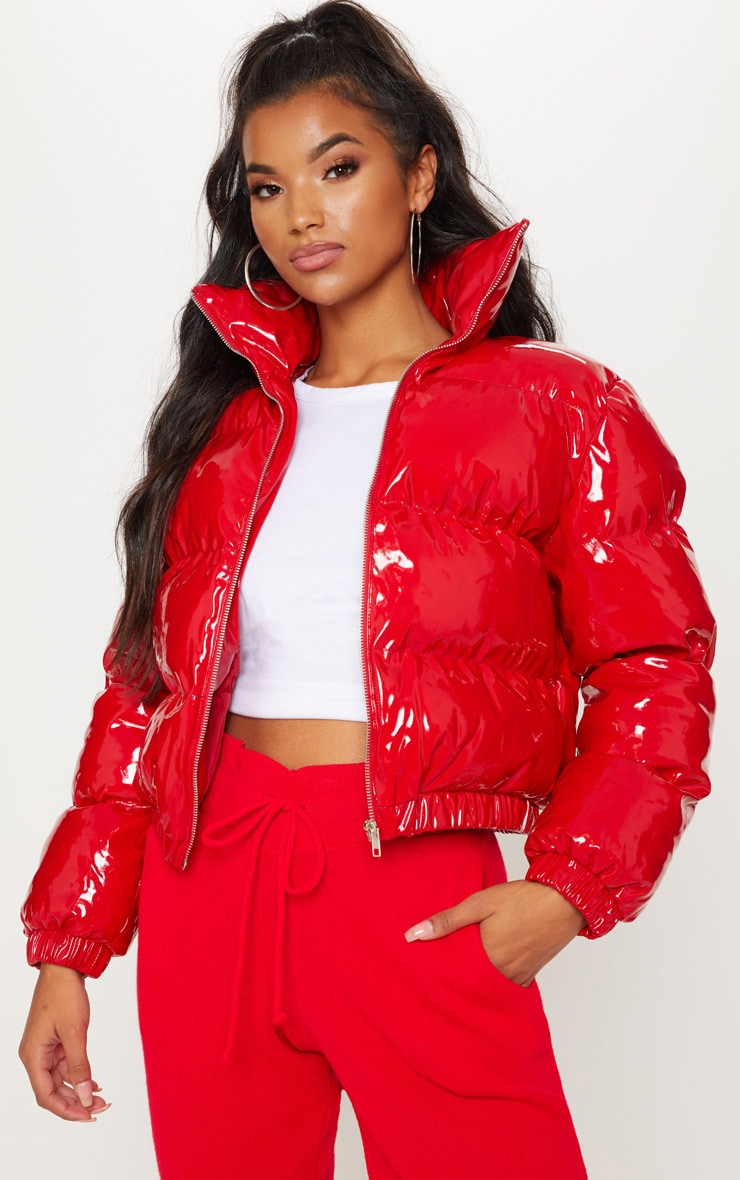Red Cropped Vinyl Puffer Coats Amp Jackets