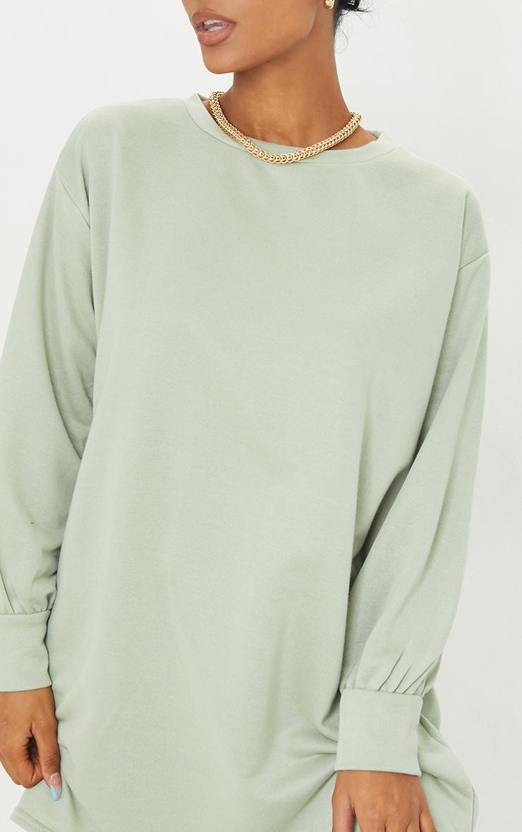Sage Green Oversized Jumper Sweater Dress 4