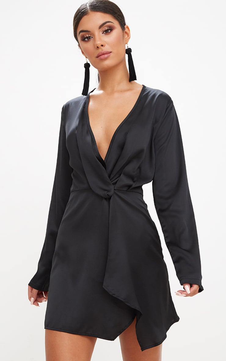 Black Satin Long Sleeve Wrap Dress. Dresses  5e0a42847f79