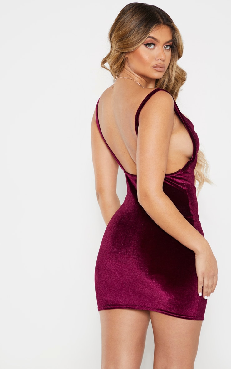 Burgundy Velvet Cowl Neck Bodycon Dress 2