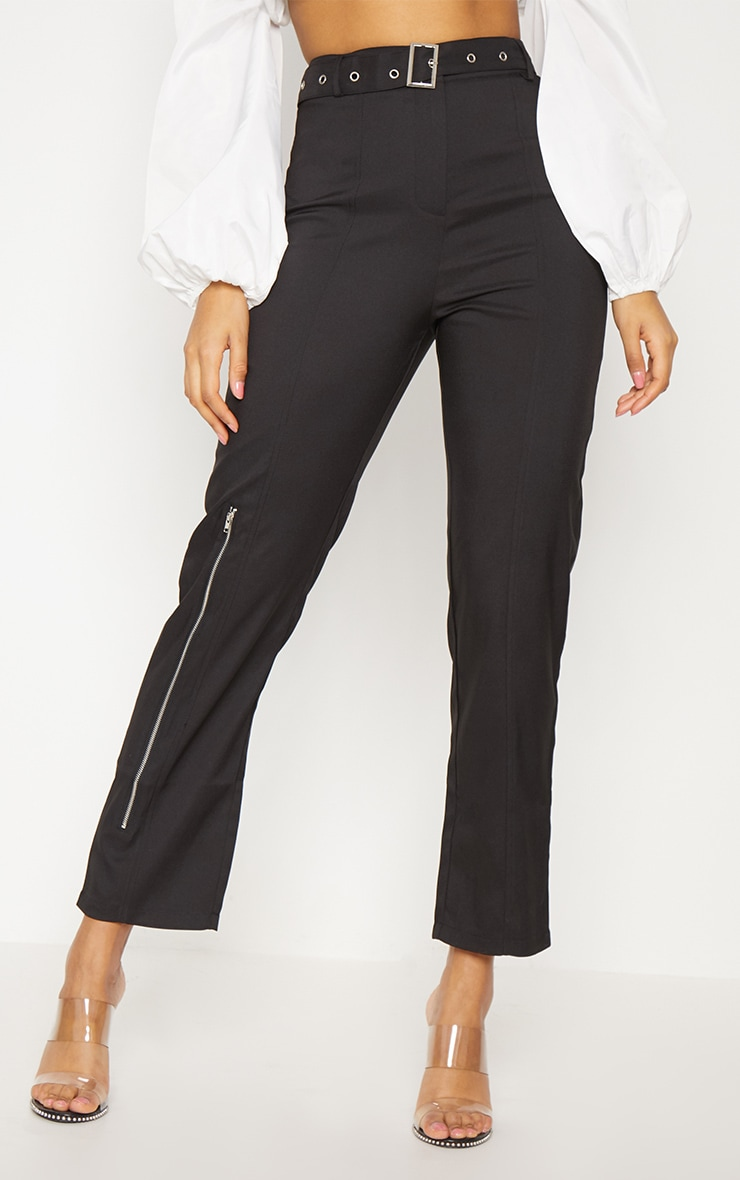 Black Belted Slim Leg Trouser 2