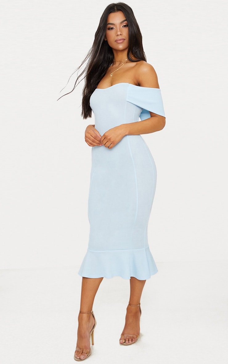 bb379c79aceb Dusty Blue Bardot Frill Hem Midi Dress image 1