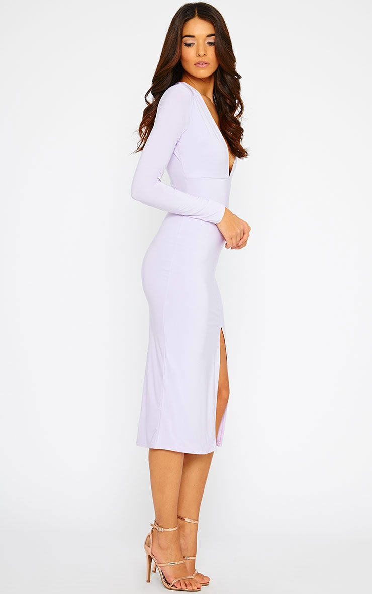 Christa Lilac Slinky Plunge Split Front Midi Dress 4