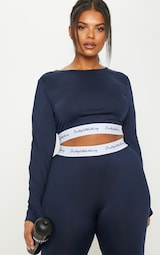 PRETTYLITTLETHING Plus Navy Band Long Sleeve Crop Top 1