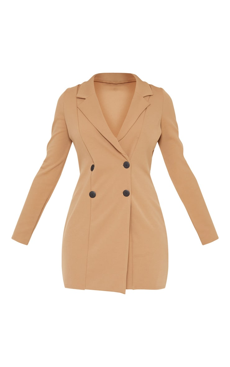 Tall Brown Mini Double Breasted Blazer Dress 3