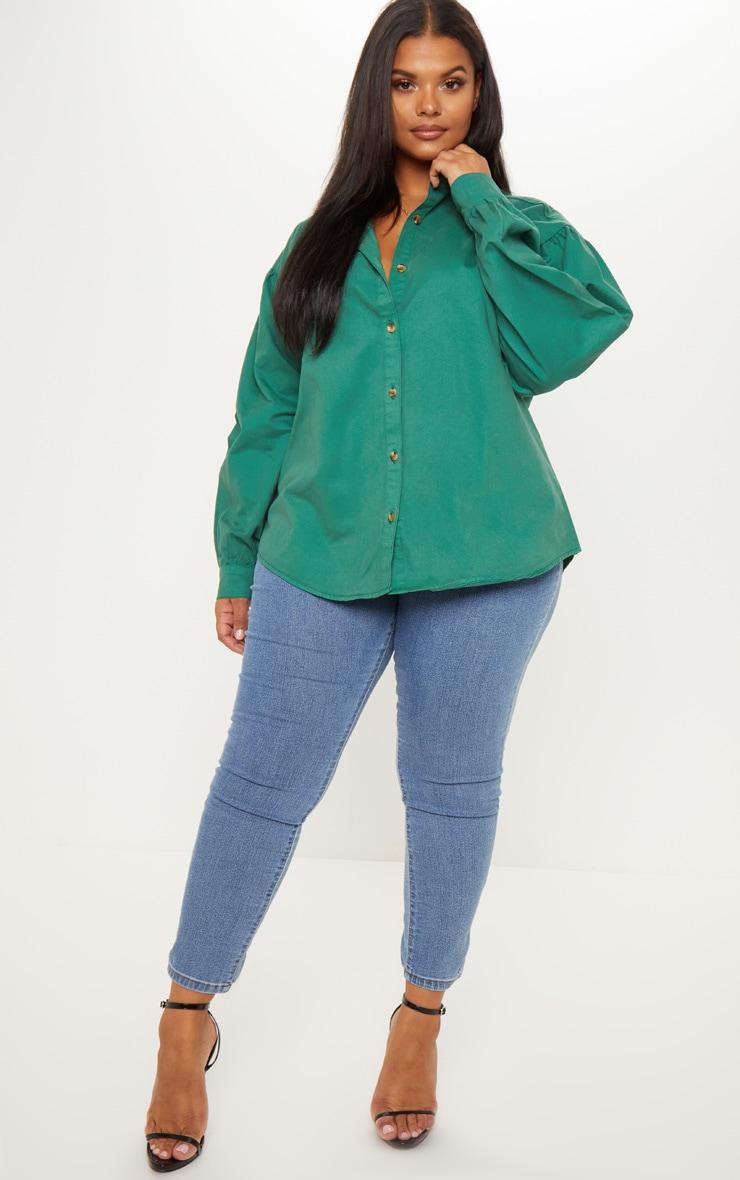 Plus Emerald Green Denim Tortoise Button Puff Sleeve Shirt 4