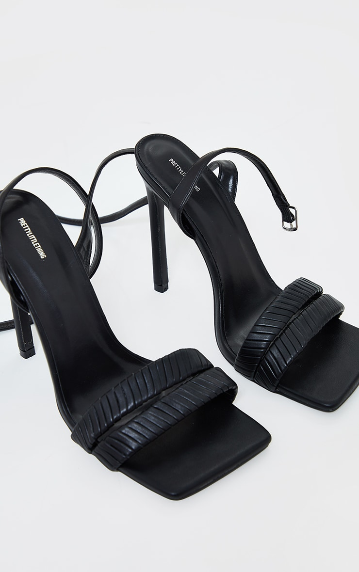 Black Extreme Square Toe Double Quilted Strap Heeled Sandals 3