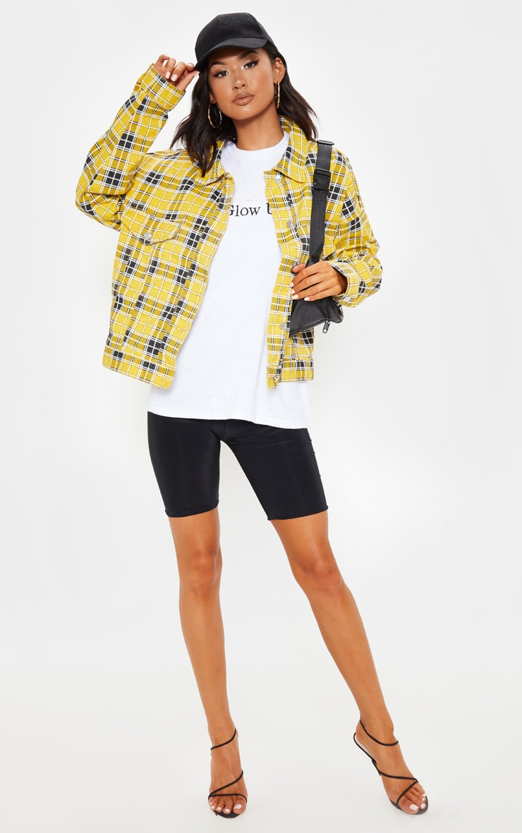 Yellow Checked Oversized Denim Jacket