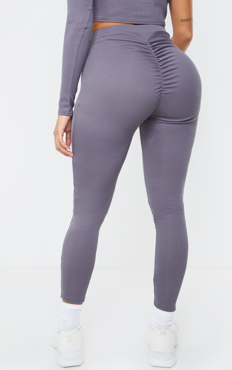 Shape Grey Rib Ruched Bum Detail Leggings 3