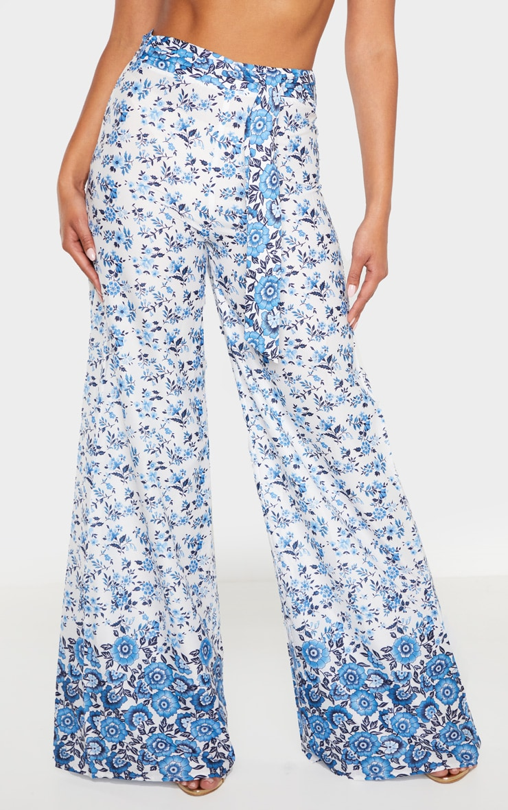White Woven Paisley Print High Waisted Belted Wide Leg Pants 2
