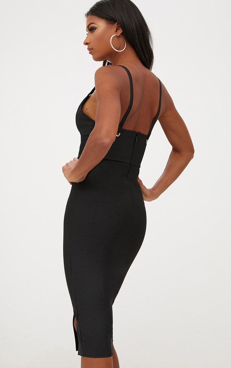 Black Bandage Strappy O Ring Midi Dress 2