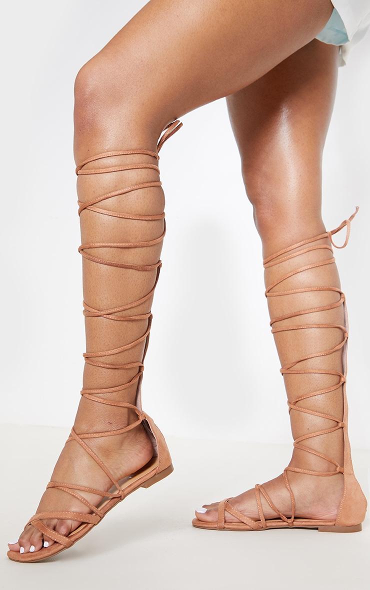 Nude Knee High Strappy Gladiator Sandal 2