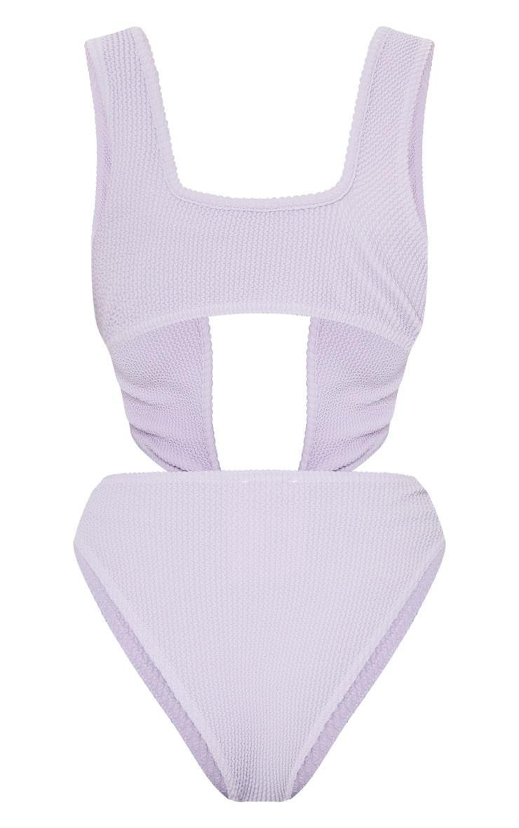 Lilac Crinkle Asymmetric Double Strap Twist Swimsuit 6