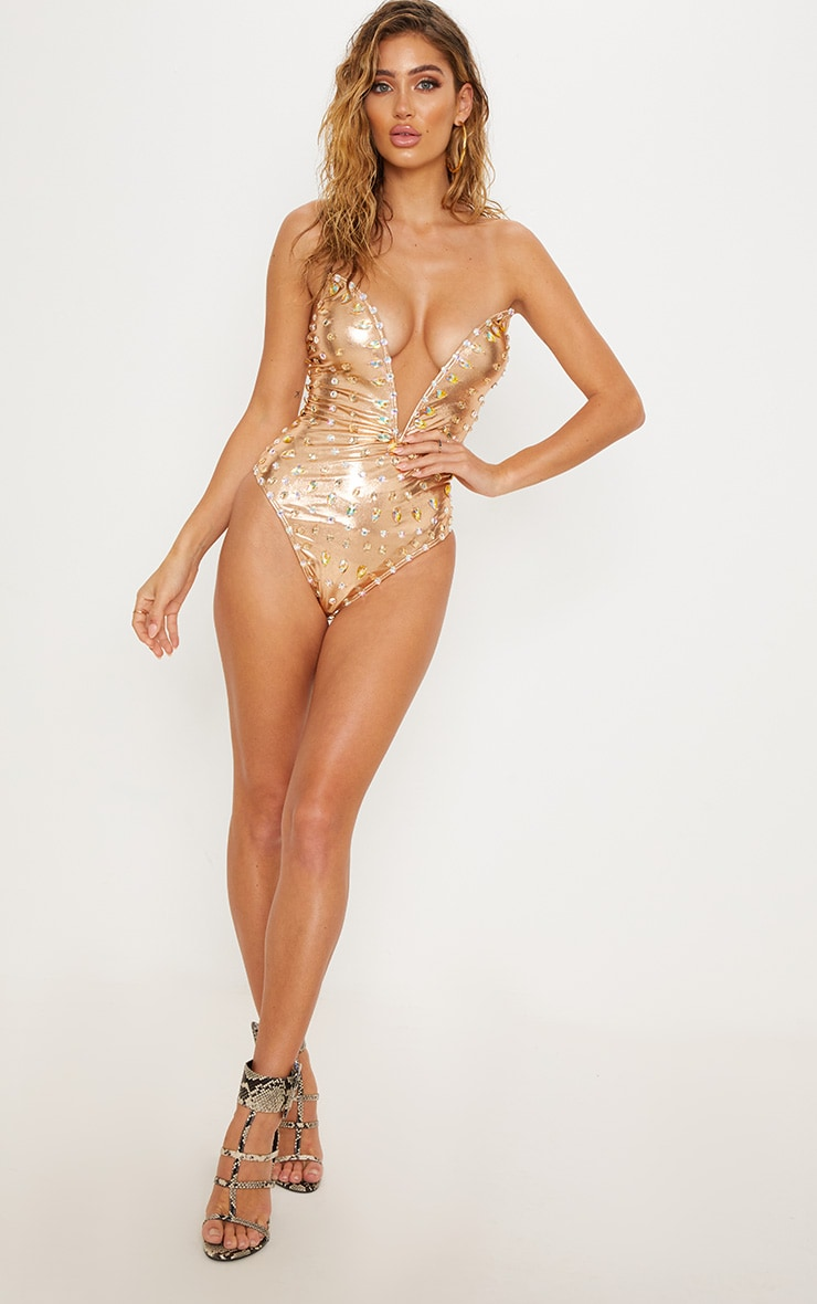 Premium Rose Gold Jeweled Deep Plunge Wired Pool Party Costume 6