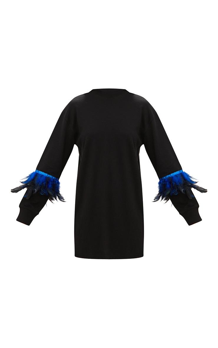 Robe sweat noire avec plumes sur les manches 3