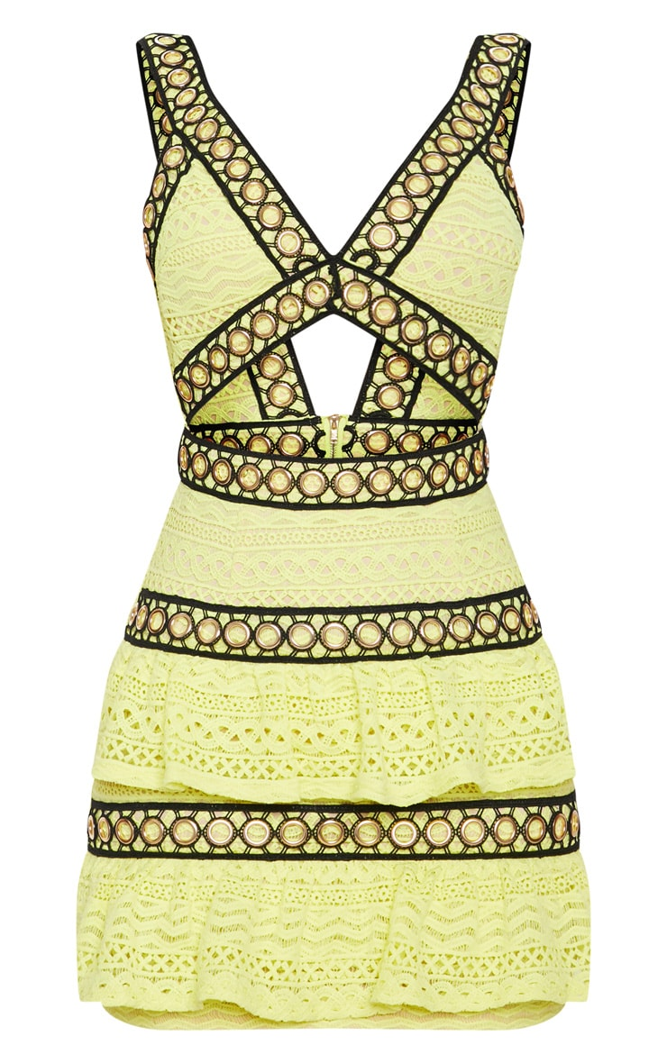 Neon Yellow Lace Contrast Eyelet Trim Tiered Bodycon Dress 3