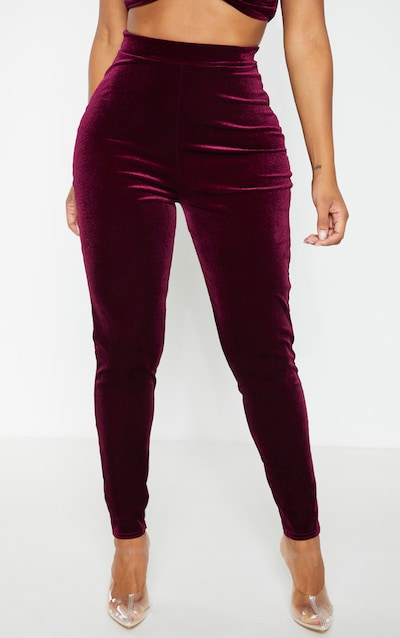Shape Burgundy Velvet High Waisted Trouser