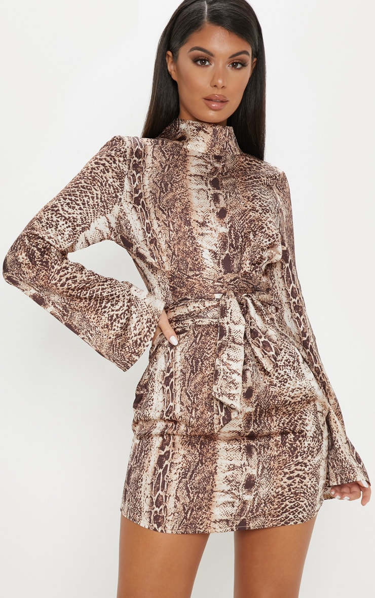 Tan Snake Print Satin High Neck Shift Dress
