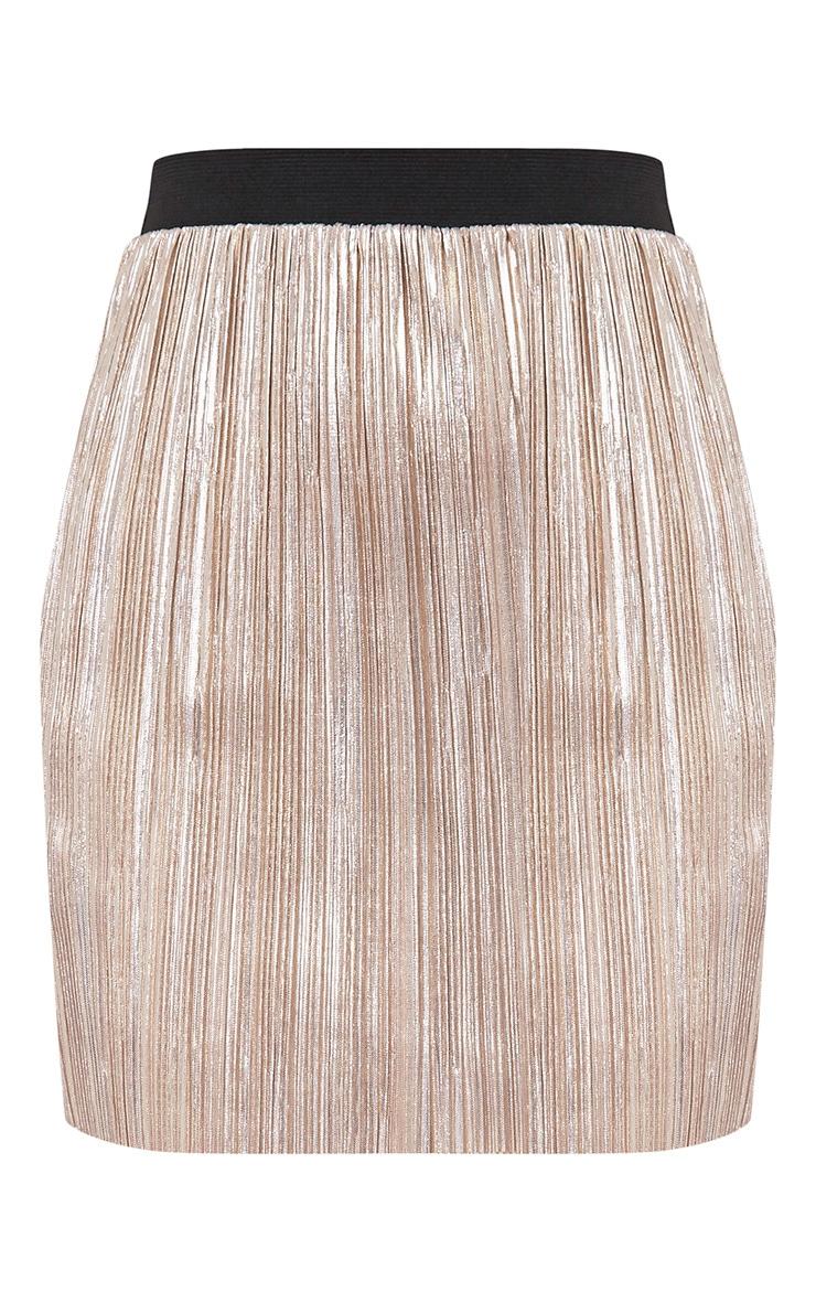 Saira Gold Metallic Pleated Mini Skirt 3