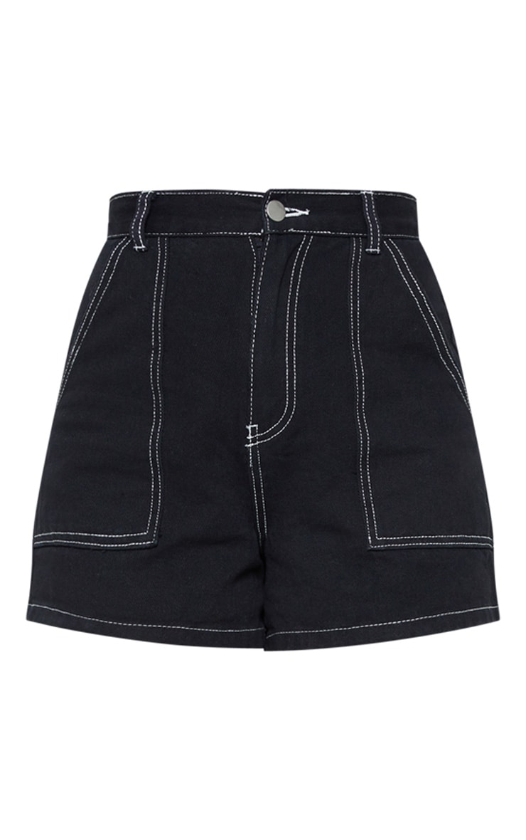 Black With White Contrast Stitch Denim Short 3
