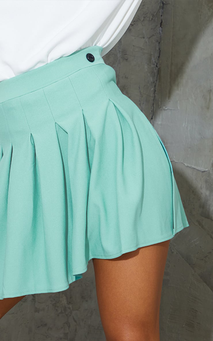 Washed Green Pleated Side Split Tennis Skirt 5