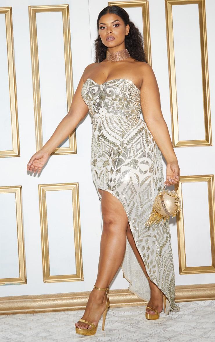 Plus Gold Sequin Bandeau Asymmetric Hem Maxi Dress 6
