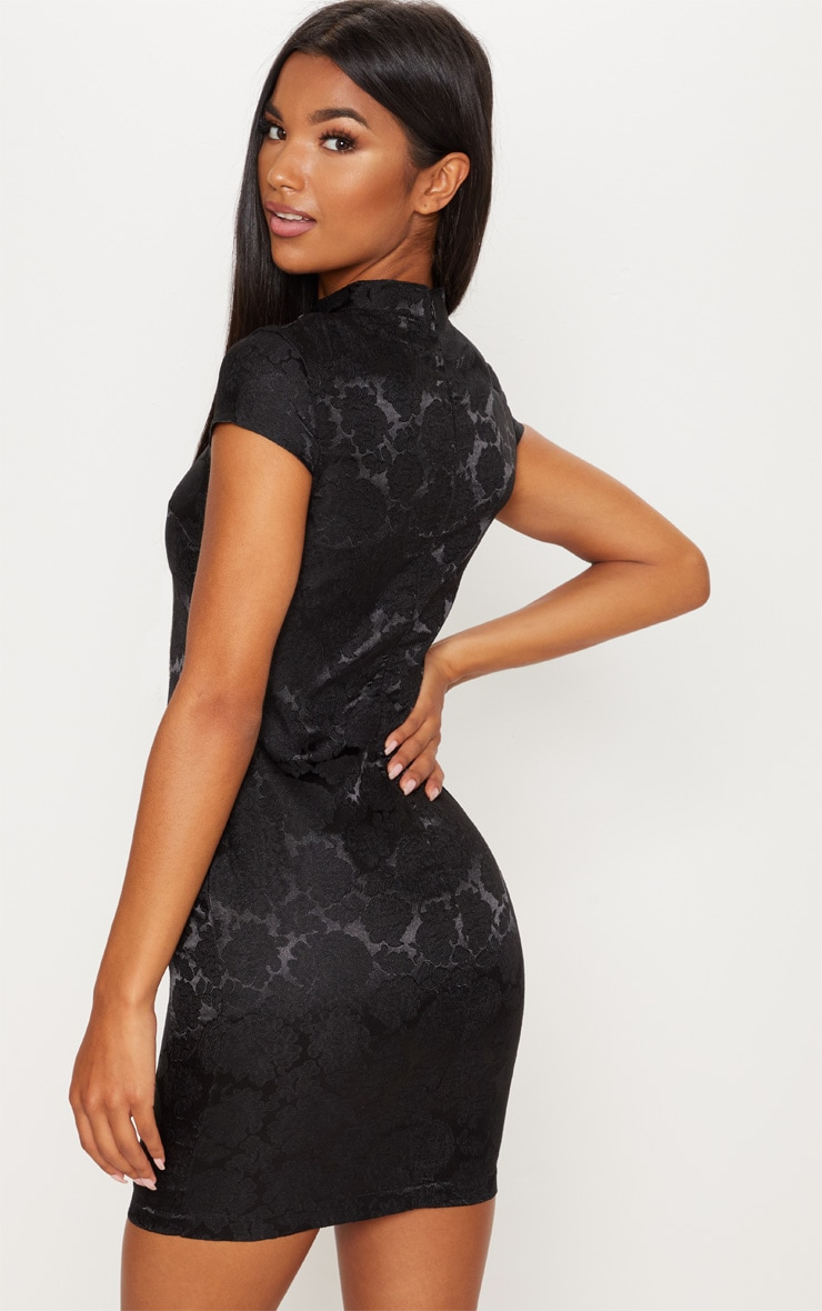 Black Floral Satin Oriental Bodycon Dress 2